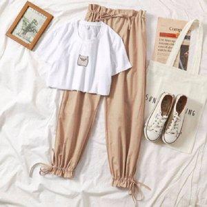 BeYVS 2,020 internet celebridade harém de duas peças de verão terno das mulheres novo ampla Branca T-shirt ampla perna estudante calças wide-perna da calça emagrecimento shor