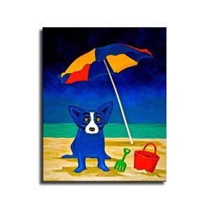 perro George Rodrigue azul buscando una playa, HD impresión de la lona Inicio Pintura Arte Decoración / (Sin marco / capítulo)