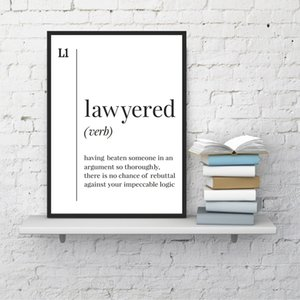 Lawyered Definition Canvas Prints Poster Scandinavian Wall Art Funny Lawyer Gift Painting Black White Picture Office Wall Decor