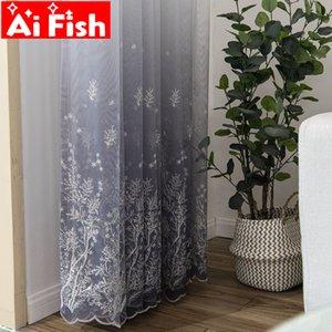 AiFish Grey gradient semplice maglie ricamo schermo della finestra voile per la cucina blu lascia in tulle di pizzo floreale per la stanza 511 # 3 vivente