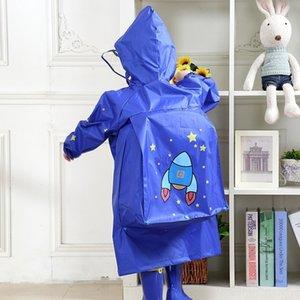 79lag Детский детский сад мальчиков и пончо Schoolbag плащ шапка Большой шляпы зрачки дождевик ребенка с Schoolbag девочек
