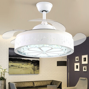 Nordic Simple Invisible Shrink Fan Lamp Dining Room Ceiling Fan Light Home Decor Household LED 110v 220v Ceiling Light