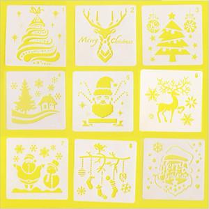 Yeni Ev Noel Santa Clause Scrapbook Boyama Kabartma Dekoratif Template Boyama Ren Geyiği Kar DIY Katmanlama Şablonlar