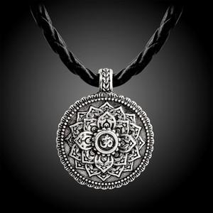 Couleur Argent Rétro Tibet spirituel Collier Tibet Mandala collier pendentif Geometry Amulet Bijoux religieux