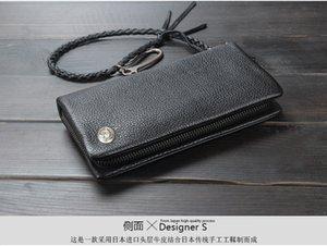 Retro Zip Money Chain Wallet Genuine Purse Leather Zip Wallet Long Style Male Rivet Fashion Mens Money Clips Around Leather Bag Dbpeg
