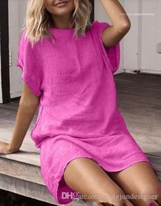 Apparel Womens Summer Designer Dresses Solid Color Crew Neck Short Sleeve Female Clothing Fashion Style Casual