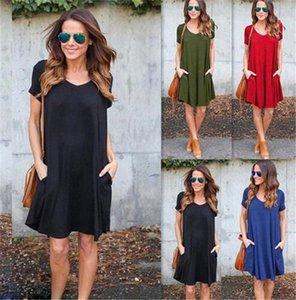 Günlük Cepler Gevşek Boho Elbise Moda Kadın V Yaka Kısa Kollu Yaz Sonbahar Rahat Mini Robe M 174 bmUK #
