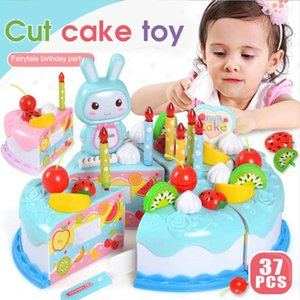2020 HOT! 37pcs Kid Pretend Role Play Toys Kitchen Fruit Cake Children Cutting Set Birthday Party Baby Kids Gift Free Shipp
