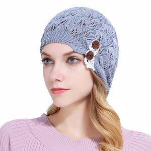 Осень Зима Женщины Вязаные шапки леди шапочка с Leaves Lace кнопки Soft Warm Wool черепа Caps Шляпы Bonnet Gorro мешковатые Bouncy