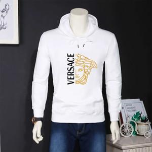 con cuello de cachemira con capucha de algodón suéter de la calle sueltos deportes de ocio para cubrir capa de los hombres de la cachemira suéter blanco Versace