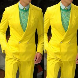 Men Yellow Double Breasted Suit Bestman Notch Lapel Grooms Tuxedo For Men Wedding Formal Prom Suit Blazer & Pants