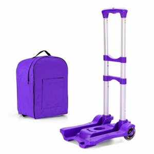 40KG Light Hand Truck Aluminum Alloy Shopping Cart Handcart Portable Folding Luggage Cart Small Trailer Trolley Cart with 2 Ropes zEbK#
