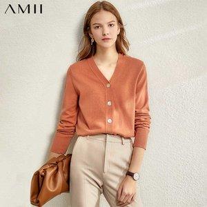 AMII minimalismus frauen herbst winter massiv gestrickte pullover tops mode kausal vneck volle hülse lose weibliche gardigan 12030003