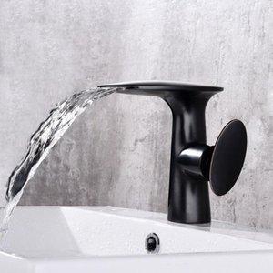 le style bassin robinet cascade robinet All Black ancienne Europe continentale Tap Tous Cuivre Salle de bain personnalisée eau chaude et froide robinet