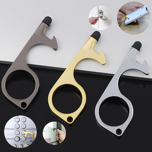 1pc portátil pacote de varejo Anti-contact Keychain Imprensa Ferramenta Elevator Door Opener evitar a poluição liga Edc Metal Door Handle Higiene das Mãos