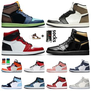 air jordan 1 high og retro 1 off white jumpman 1 scarpe da basket da uomo da donna 1s Sneaker da ginnastica senza paura Bio Hack Dark Mocha Black Gold Satin Snake FEARLESS