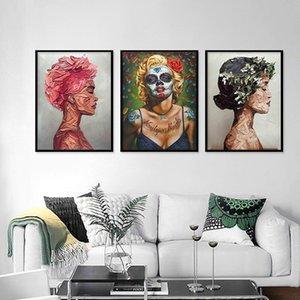 Résumé Wall Art Graffiti Figure Peinture à l'huile sur toile colorée Figure Portrait Poster Prints Accrochage pour Salon Décoration