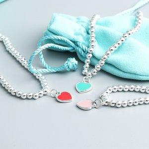 S925 стерлингов Будда серебра синего сердце браслет красной формы сердце круглых бусины голубой эмаль любовь Будда бисер браслет для женщин