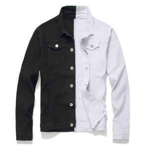 Autunno Inverno Uomini Denim Giacca Moda Autostituzione Casual Cucitura a due colori Nero / Rosso Black / Blue Jacket Black / White Jeans
