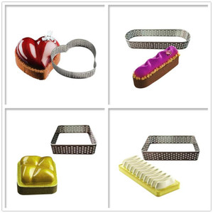 1PC Heart Square Oval Mousse Mould Sewed Tart Ring Stainless Steel Perforated Cake Mousse Circle Cake Decorating Tool Bakeware