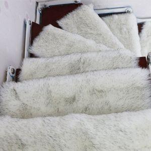 13PCS Faux Wool Rug Stair Passos Mats Retângulo antiderrapante Tapetes Escadaria Pads Stepping Tapete Yyfs #