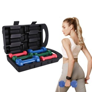 US-Stock Fitness Coated coloré Haltère vinyle (Fitbell) 6 kg / 13.23lb Set 3Pairs de poids Carry Case Équipement d'exercice pour les hommes et les femmes