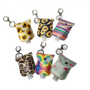 PU Leather Hand Sanitizer Bottle Holder Keychain Bags Key Rings Hand Soap Bottle Holder Printed Chapstick Holder without bottle