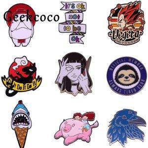 20pcs lot J1445 Geekcoco Fashion Enamel Pin Cartoon Cute Sloth Shark Brooch Collection Metal Lapel Badge Brooches Jewelry Gift