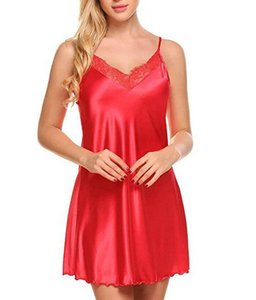 Lace Deep V-neck Nightdress Sexy Lingerie Nightgowns Sleepwear Night Dress Women Sleeveless Nightwear Faux Silk Satin Nightshirt