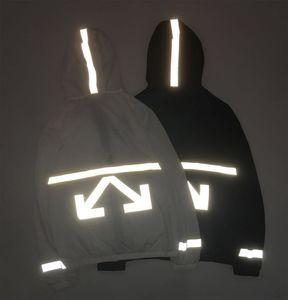 lo6Up WCD3U luminoso reflexivo OW rayas luz y capa blanca con capucha ropa fina ropa de protección solar Cortavientos cortaviento hombres y mujeres c