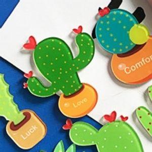 Nova dos desenhos animados cacto adesivo acrílico etiqueta de papel geladeira japonês e divertido pastoral adesivo cactus geladeira coreano