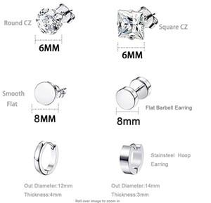 Wholesale 6 Pair lot CZ Zircon Men Women Stud Earrings Punk Sliver Plated Women Diamond Charms Stud Earrings Jewelry Free Shipping