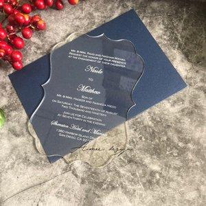 Clear acrylic wedding invitation customized fancy shape with RSVP card