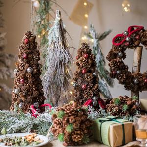 Natur Tannenzapfen Apple-Beeren künstlicher Baum 2020 Weihnachtsbaum Rustikal-Dekor Weihnachten Holz Bauernhof Bonsai Noel