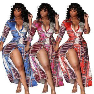 النساء بيزلي طباعة فساتين كم طويل مبادلات أسفل الرقبة الجانبية سبليت البلوزات قميص فستان ماكسي خمر أزياء فستان طويل