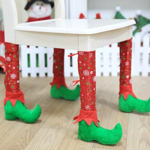 Nueva atmósfera cubierta de la silla de Navidad decorar adorno sala de comedor cubierta esquina de la mesa pata de la silla taburete decorar la pierna T3I51190