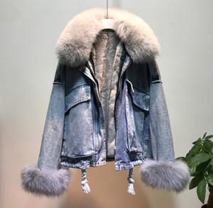 femmes fourrure Veste d'hiver denim doublure cheveux manteau taille plus épais chaud Parka Jeans Femme Casual Outwear