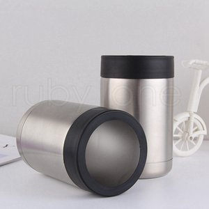12oz Mugs Tumbler Mugs Insulated Stainless Steel Car Beer Cup Beer Mugs Cola Can Flat Bottom Cup Tumbler Drinkware SEA SHIPPING RRA3647