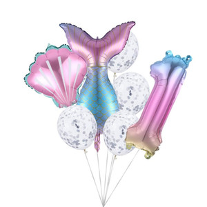 7pcs / lot Mermaid Parti Balonlar Numarası Folyo Balon Kız Teması Prenses Doğum Günü Partisi Dekoru Bebek Dekor Helyum Globos