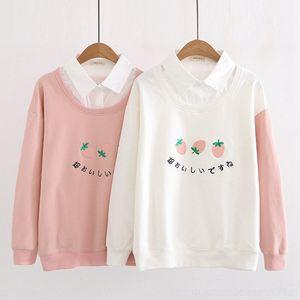 mSlZM MM10495 mektup yeni Japon sweetstyle bahar çilek nakış sahte iki parçalı öğrenci Üst Triko Strawberry kazak üst