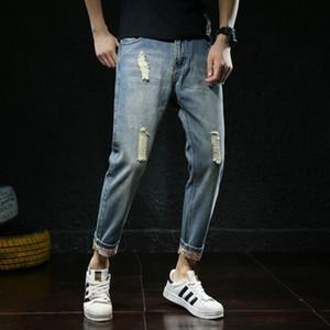 0scqG Стильный рваные BORN мужские мужчины шаровары и джинсы подросток лето прилив Корейский брюки джинсы мужчин
