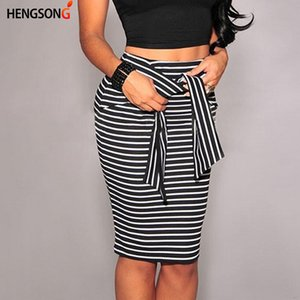 Summer Sexy Slim Bodycon Pencil Skirts Women Lady Striped Skirt Female Knee-Length Bandage Skirt White Black IU965809