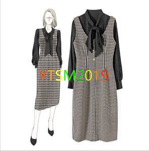 2020 Ladies Knitted 2 Piece sets round neck bow Tops+vest skirt Autumn Winter fashion sweater suit