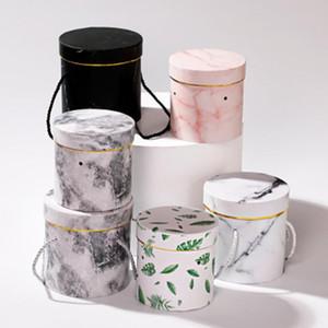 2pcs cappello rotondo floreale fioriere Packaging Paper Bag Gift Box di stoccaggio fiorista Bouquet di fiori Packaging scatola con coperchio Cordino
