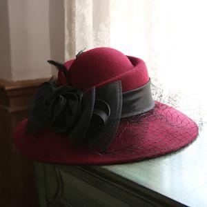 French Ladies Winter Spring Big Brim Wool Fedora Cap Mesh Bow Flower Wool Felt Hat Elegant Ladies Party Pillbox Veil Hat