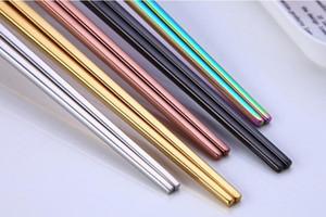 Saf Renk Chopsticks Paslanmaz Çelik Chopsticks Basit Stil Şeker Renk bulaşığı Otel Yemek takımı 5 Renk AHE915