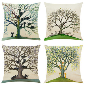 Big Tree Linen Cushion Covers Home Office Sofa Square Pillow Case Decorative Pillow Covers Without Insert (18*18Inch)
