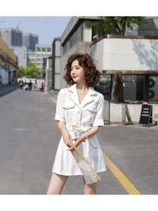 2020 summer new style, network red suit collar women's casual overalls wide short-sleeved jumpsuit