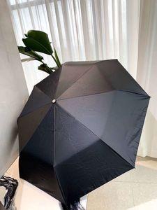 C Classic 3 Falte Vollautomatische Schwarz Regenschirm 2020 späteste Art-Sonnenschirm mit Geschenkkasten Und Ledertasche für VIP-Client