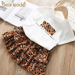 Bear Leader Kids Girls Clothing 2020 New Summer Girls Leopard Clothes Fashion T-shirt and Layered Dress 2pcs Clothing Sets 3-7Y